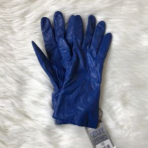 NWT Cobalt Blue Leather Gloves